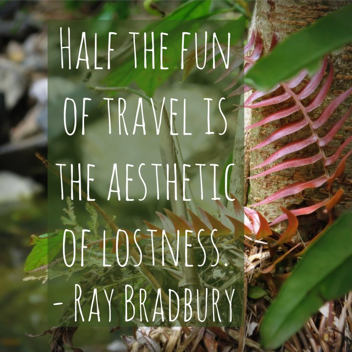 Half the fun of travel is the aesthetic of lostness. - Ray Bradbury