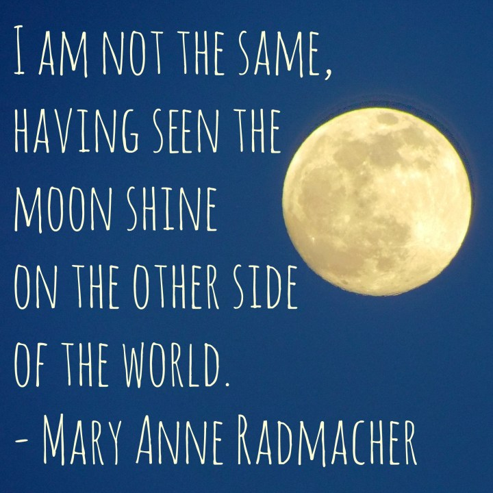 I am not the same, having seen the moon shine on the other side of the world. - Mary Anne Radmacher