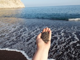 Black sand of Perissa Beach, Santorini