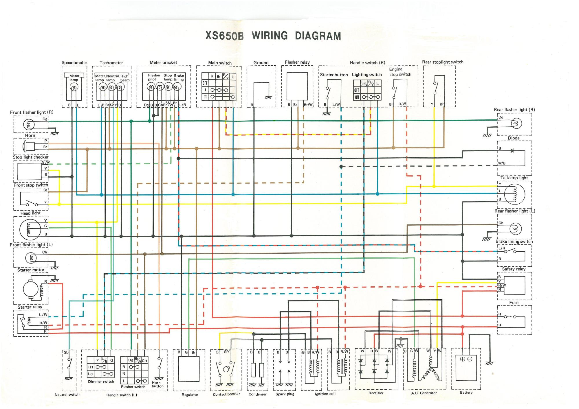 hight resolution of  wiring circuit diagram 76 xs650c 75