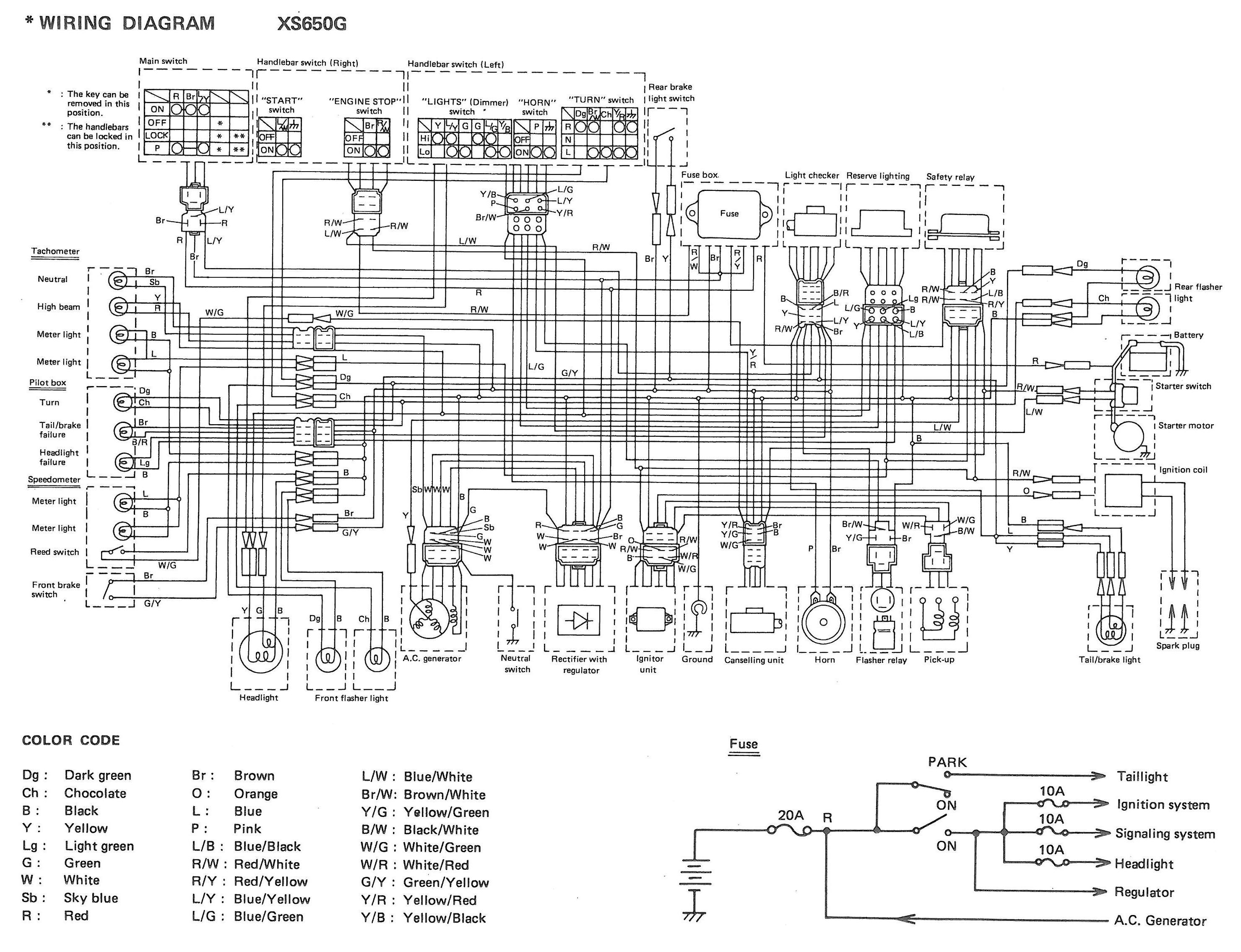yamaha xs650 wiring diagram double capacitor single phase motor 80 xs650g and sg diagrams thexscafe