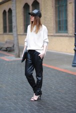 TREND_INSPIRATION_LEATHER_BAGGY_SWEATPANTS_THEXTYLE_ SS-2014_LOOSE_STREETSTYLE_FASHIONVIBE
