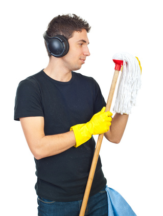 Man with a mop © Gabriel Blaj | Dreamstime.com