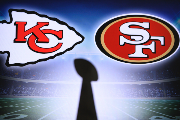 Super Bowl LIV, the 54th Super Bowl,Kansas City Chiefs vs. The San Francisco 49ers at Hard Rock Stadium in Miami NFL Trophy silhouette