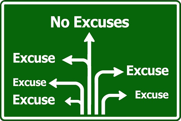 Traffic sign with five excuse exits and one no excuses exit