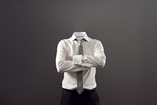 invisible man standing with folded arms over his chest