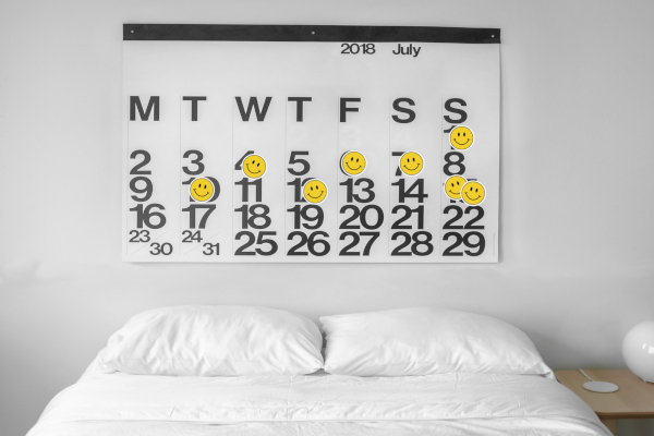 Calendar with happy face stickers to indicate when sex occurred