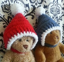 Pompom crocheted pixie hats