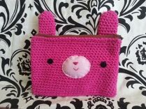 crocheted bunny pencil case