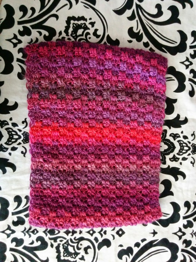Red heart boutique in winery used to crochet cowl