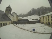 The view from the window at our albergue in Roncesvalles, our first stop over the Pyrenees. Lots of snow!