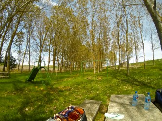 One of my favorite lunch stops along the whole Camino! Obviously an old playground that's been abandoned at some point, with an old pilgrim fountain in a pretty grove of trees.