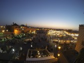 Jemaa el Fna square in Marrakesh. This was our view from a rooftop terrace dining experience. What a view!