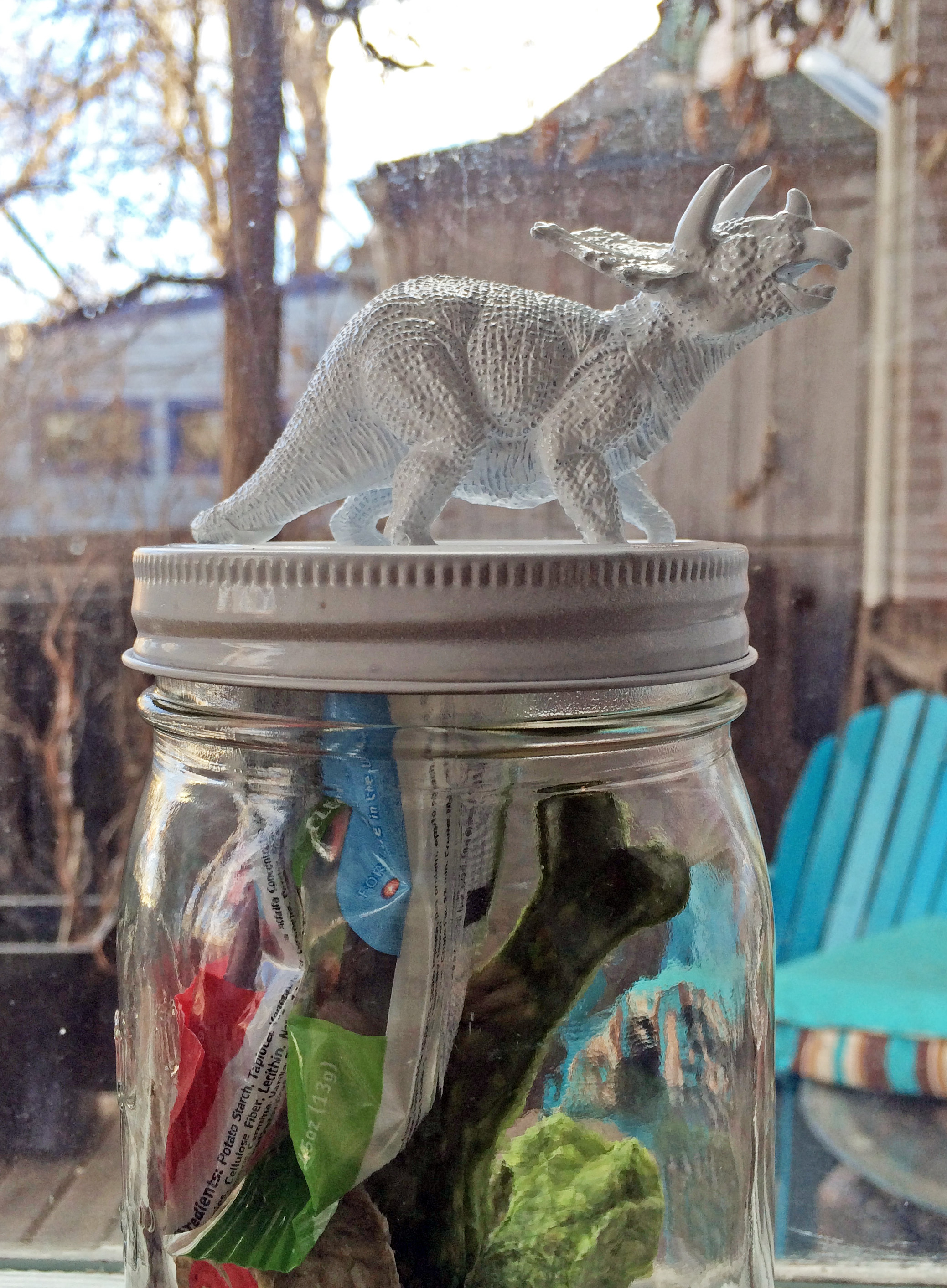 More Dinolicious KitschDIY Jar Toppers from Thriftstore Toy Dinosaurs  the Year of Living