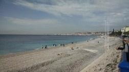 Nice's beach-- it's long but all gravel.