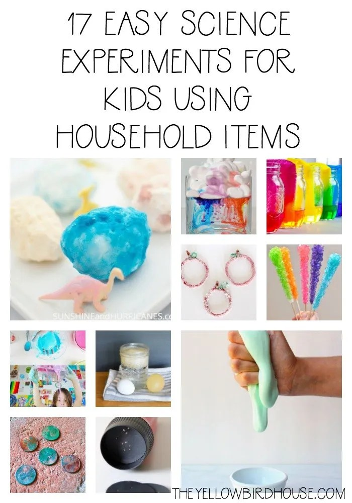 A round up of 17 easy science experiments for kids. Foster their love of learning all while using household items! Perfect rainy day activities for kids.