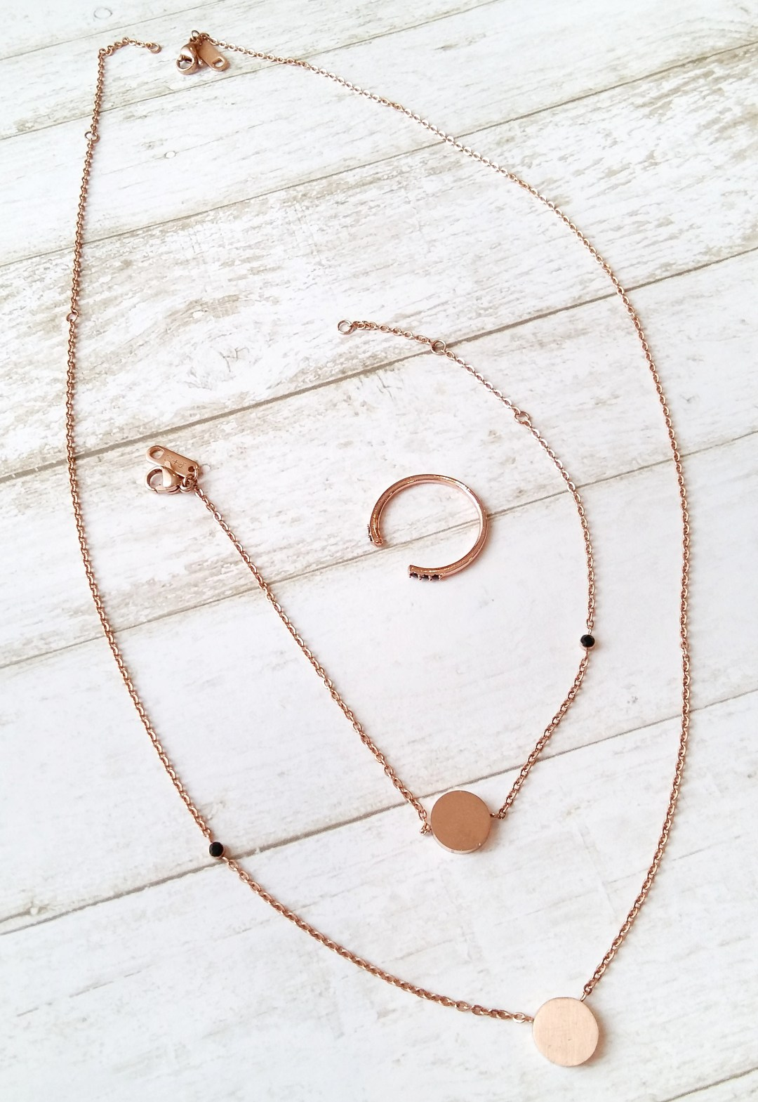 A Penny + Grace rose gold jewellery set. Receive a totally affordable jewellery subscription box every month containing the sweetest delicate pieces!