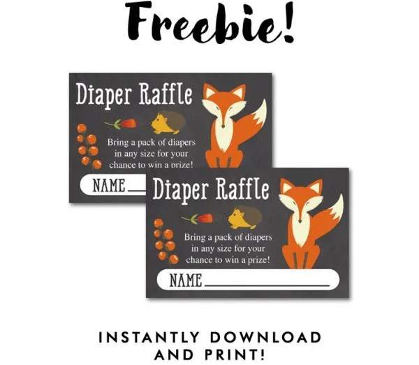 Baby Shower Free Printables. Fox Diaper raffle tickets for a diy baby shower party!