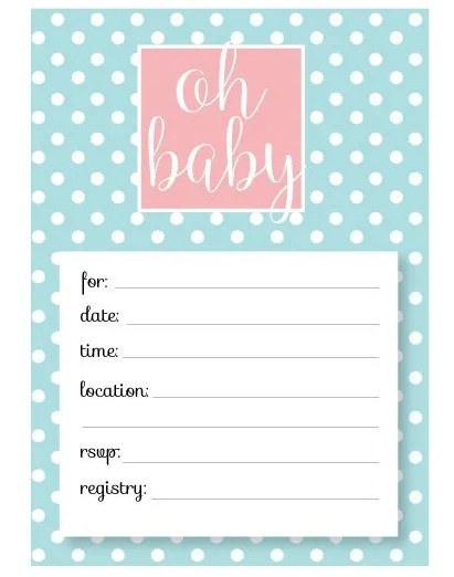 Super cute free baby shower invitation. Free printable baby shower invite for cute party!