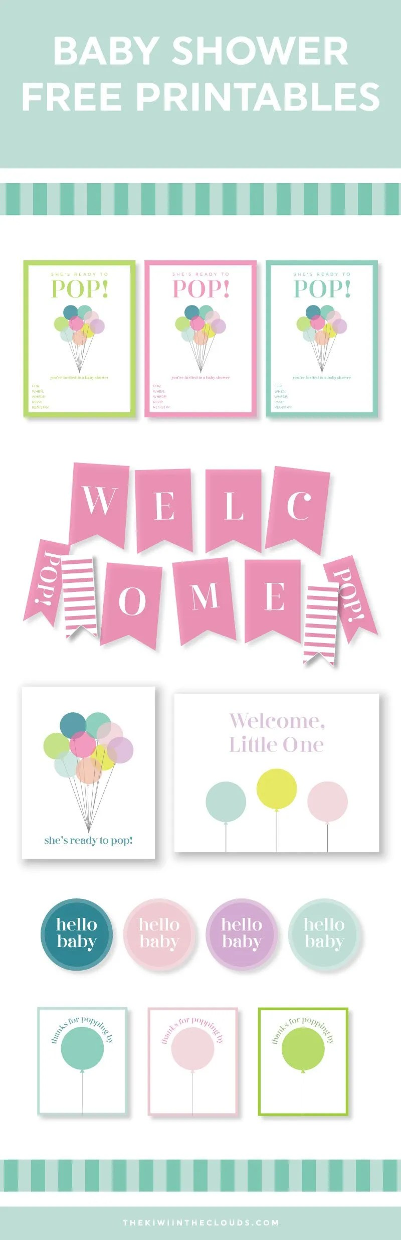 She's ready to Pop! Free printable set of invites, games & decor for a diy baby shower!