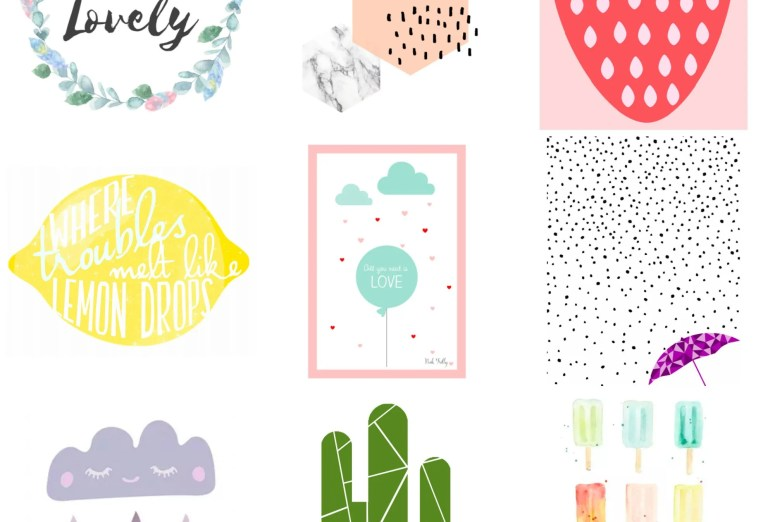 Pretty graphic printables to decorate a nursery. Free decor for kid's rooms.