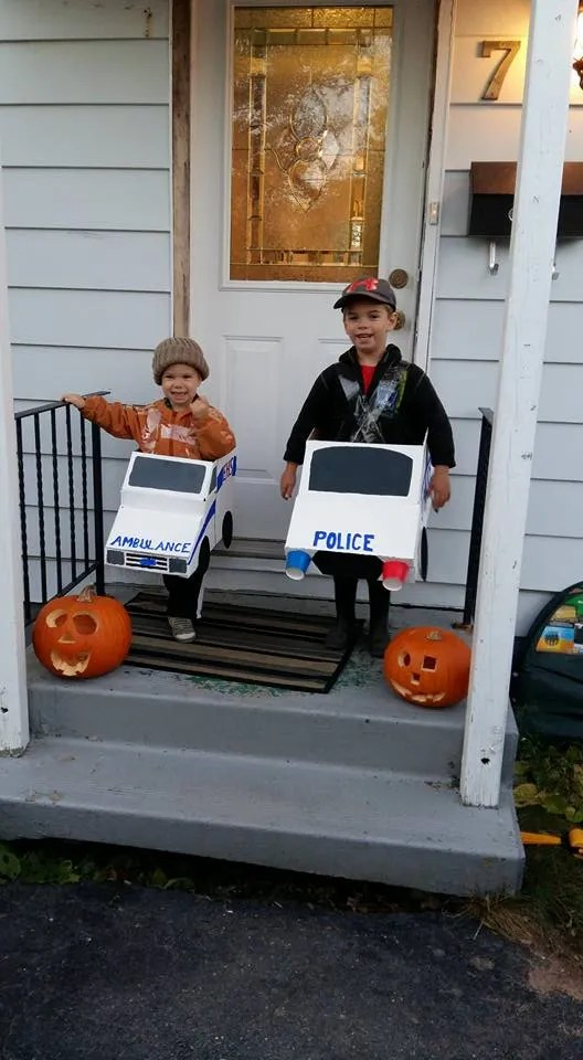 Make an ambulance and police car out of cardboard boxes!