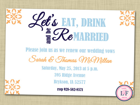 Adorable Vow Renewal And Engagement Party Invitations