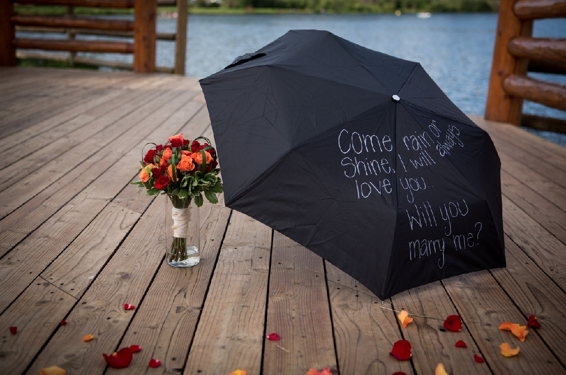 Evergreen Colorado Rainy Day Marriage Proposal By The YES