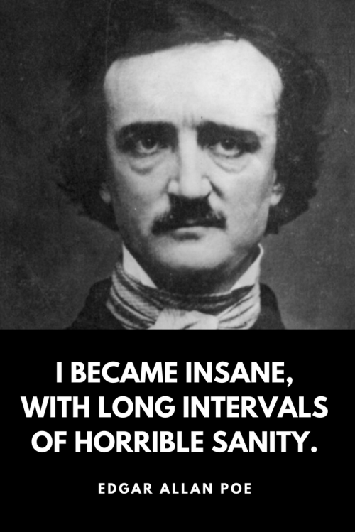 Edgar Allan Poe Quotes Born January 19, 1809 - I became insane, with long intervals of horrible sanity.