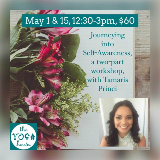 Announcement for Yoga House event with yoga instructor set against a backdrop of spring flowers