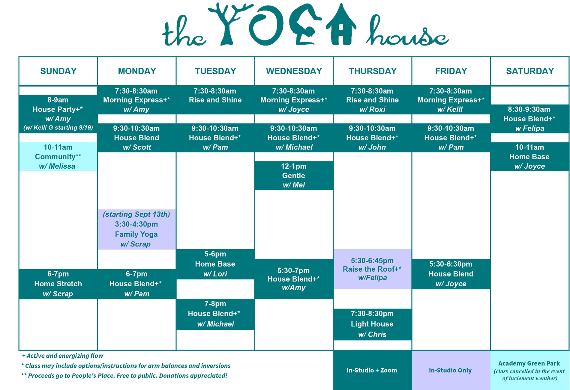 A calendar showing the fall 2021 schedule for the yoga house