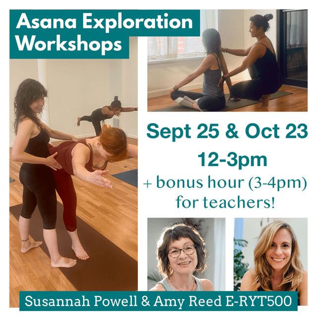 A flyer for an asana workshop showing yoga instructor helping students explore various poses