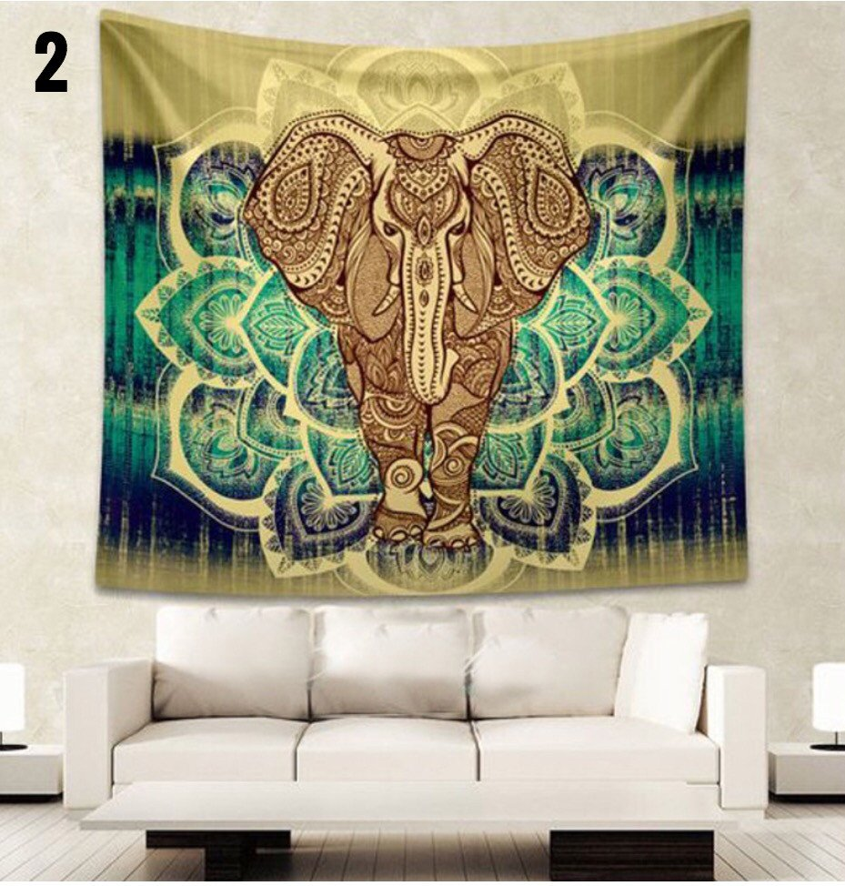 Indian Elephant Mandala Blanket Tapestry  The Yoga