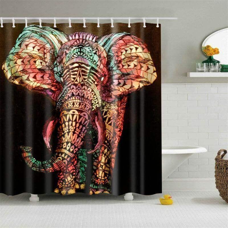 Colorful Mandala Elephant Shower Curtain  The Yoga Mandala Store