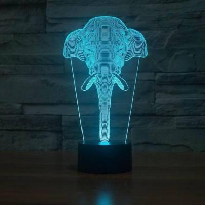 3D Elephant Head Illusion LED LIGHT Hologram