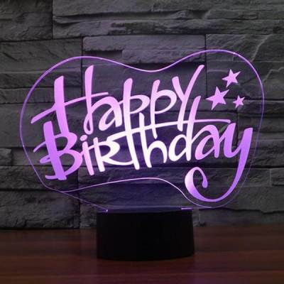 3D Happy Birthday LED Lamp Hologram