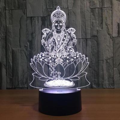 3D Optical Illusion Lotus Buddha LED LIGHT Hologram