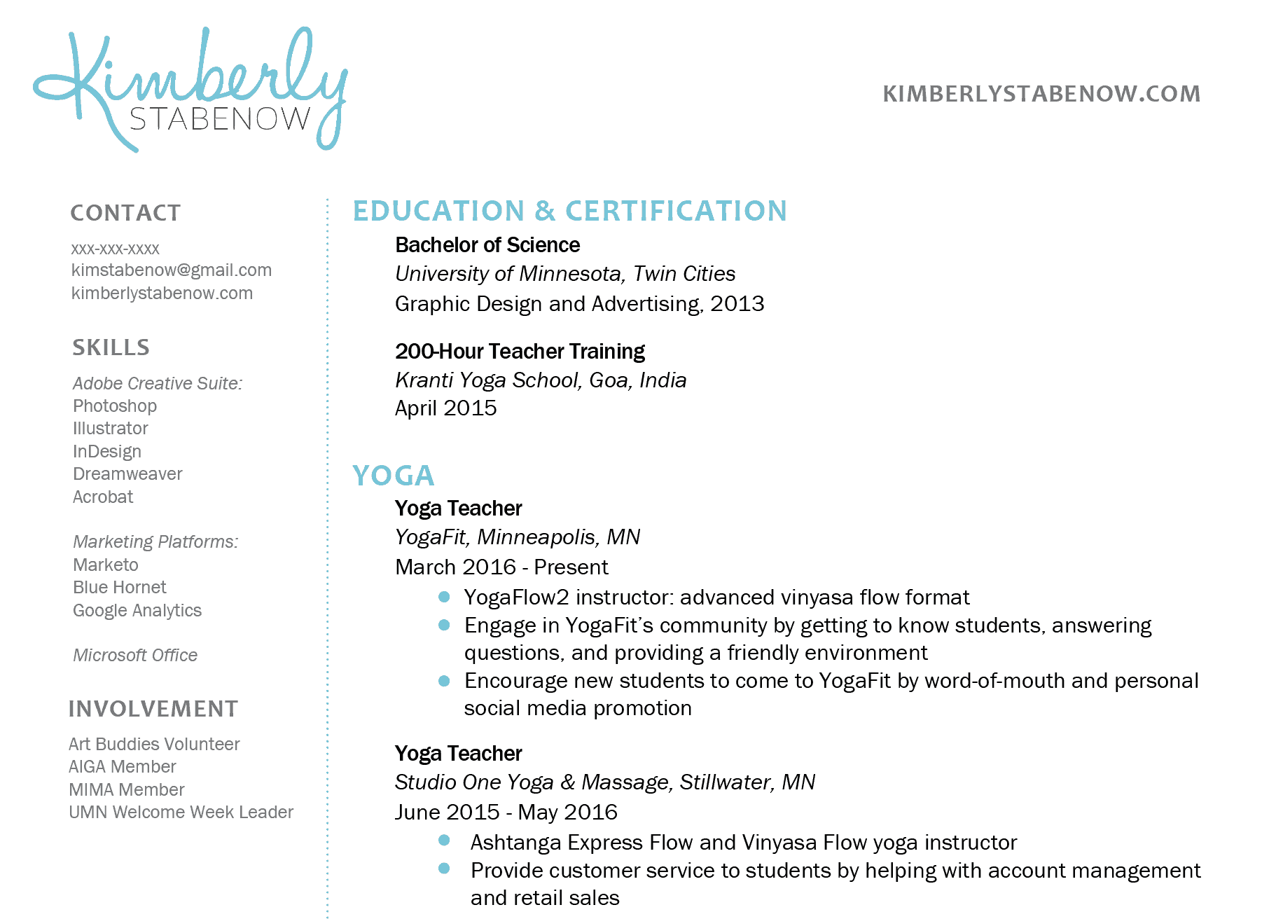 Resume Contact Information Format How To Create The Perfect Yoga Teacher Resume The Yoga