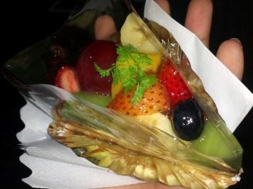 A slice of a Japanese fruit tart.