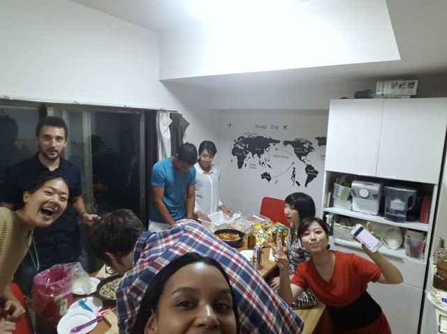 Share house pizza party in Shin-Yokohama