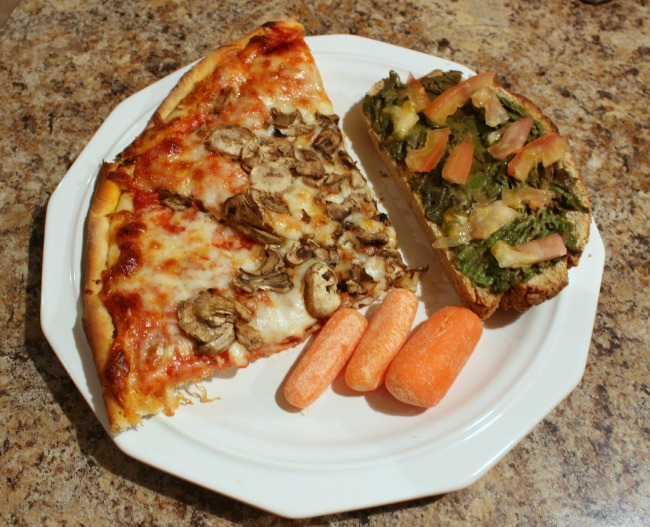 pizza, carrots, avocado tomato bread