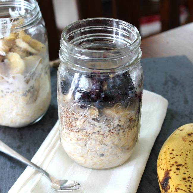 superfood overnight oats packed with flax, chia, and blueberries