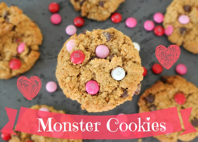 valentines day monster cookies 2 hearts