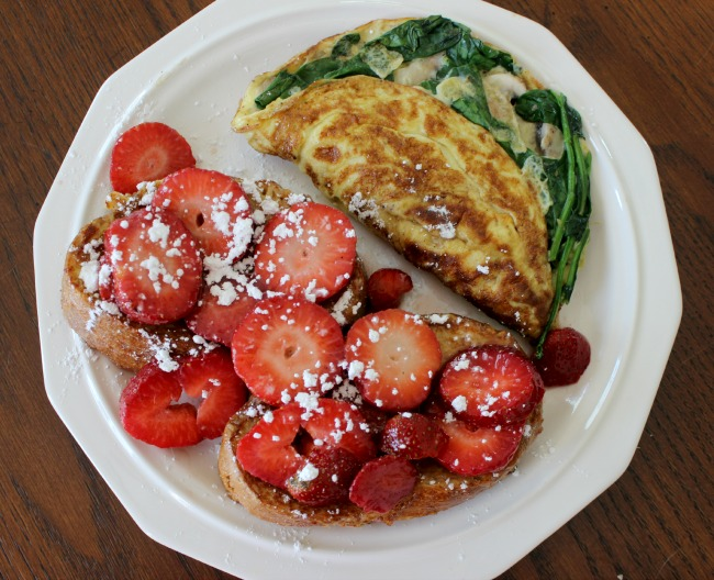 stuffed french toast and an omelette