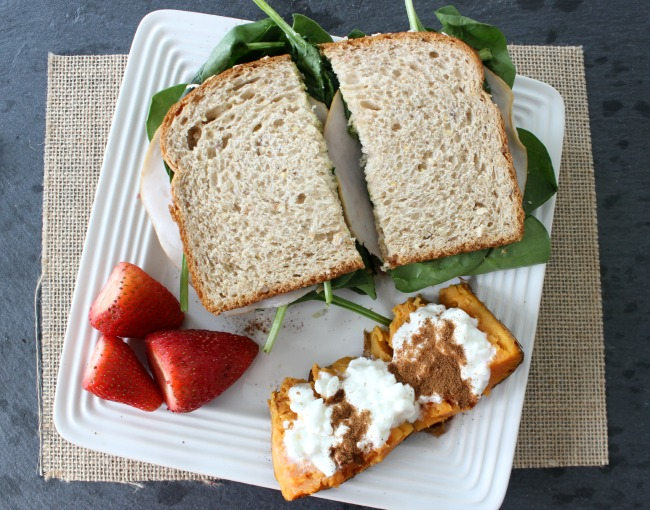 turkey sandwich with strawberries and sweet potato