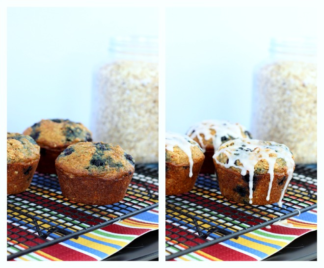 Blueberry Oatmeal Flax Muffin Collage
