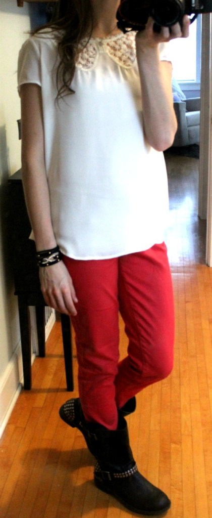 white shirt red pants black boots