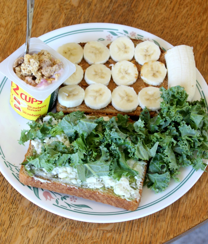 yogurt bread pb banana kale avocado cottage cheese