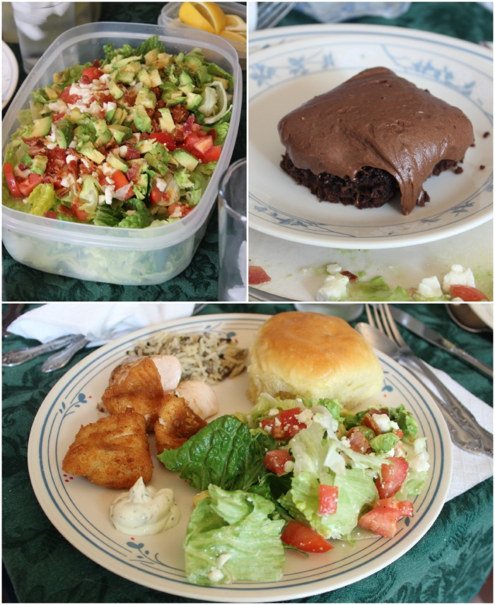 fish fry salad brownie