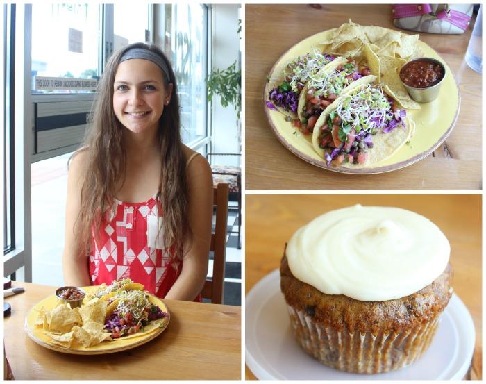 lentil zucchini tacos and carrot cake muffin at vegan restaurant Frisch